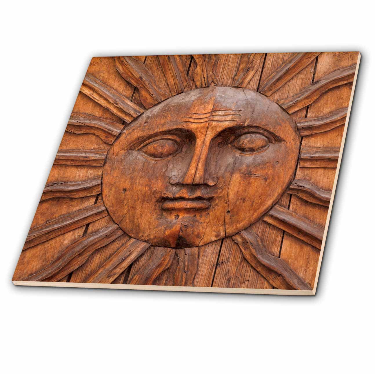 3dRose Mexico, San Miguel de Allende. Image of Sun Carving. - Ceramic Tile, 8-inch