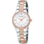 Womens Crystal Analog Stainless Watch - Two-tone Bracelet - Silver Dial - PH8058
