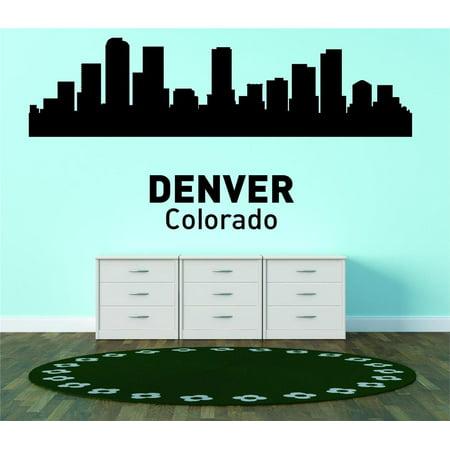 Denver Colorado United States Major City Geographical Map Landmark - Vinyl Wall Decal -