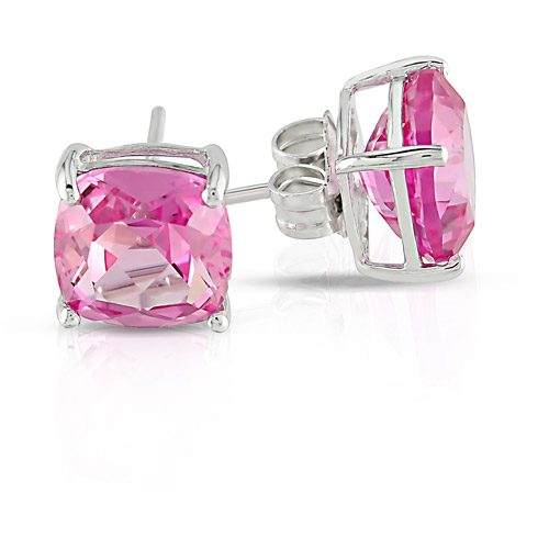 6 CT TGW Created Pink Sapphire Solitaire Earrings in Sterling Silver