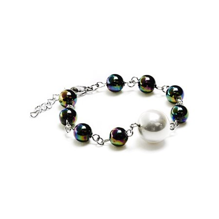 Wood Beads Shell Bracelets - Stainless Steel White Shell Multi-Colored Glass Bead Bracelet
