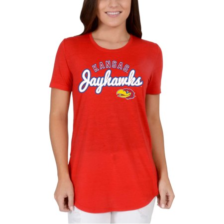 Women's Red Kansas Jayhawks Faux Stitch V-Neck - Kansas Jayhawks Santa