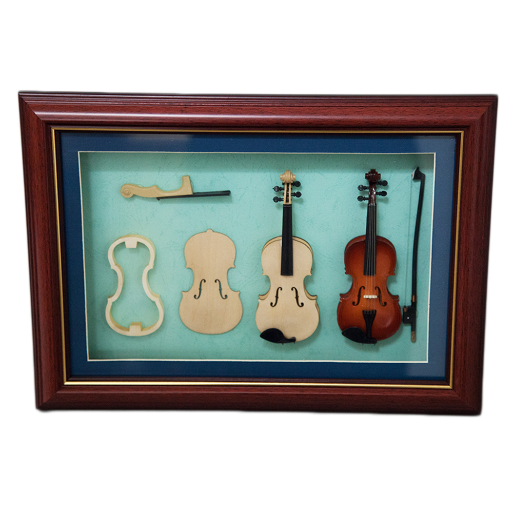 Sky Mini Violin Making Process in Photo Frame with Hanger Delicate GIFT