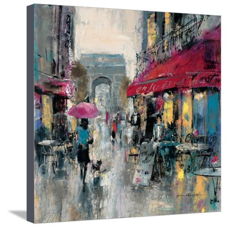Paris Modern 1 Urban French Cityscape Street Scene Stretched Canvas Print Wall Art By Brent Heighton (Fence Canvas)