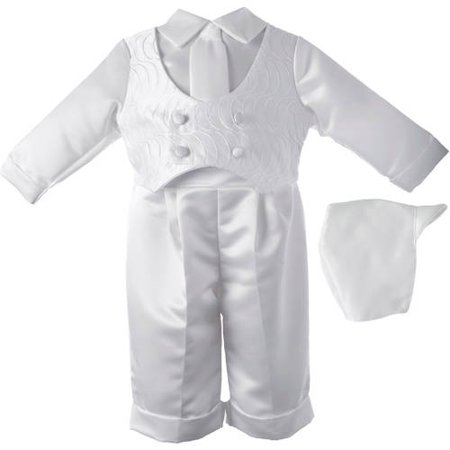 Christening Baptism Newborn Baby Boy Special Occasion 3 Pc Boys Satin Long Pant Set w/ Embroidered Vest & Matching Hat