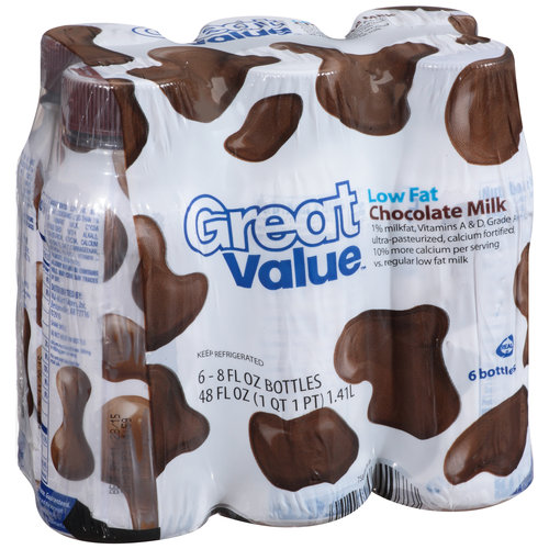 Great Value Low Fat Chocolate Milk, 8 oz, 6 ct