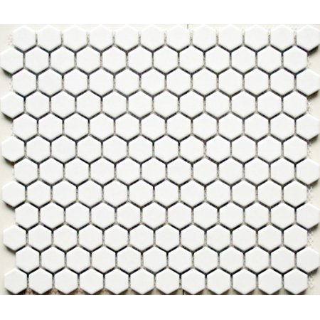 Value Series 1'' x 1'' Hexagon Porcelain Mosaic Tile in Matte White - 9 square feet carton 0.875' Glass Mosaic Tile
