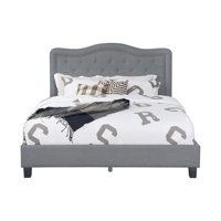 Leonel Signature Queen Size Upholstered Panel Bed W Nailhead Trim Multiple Colors