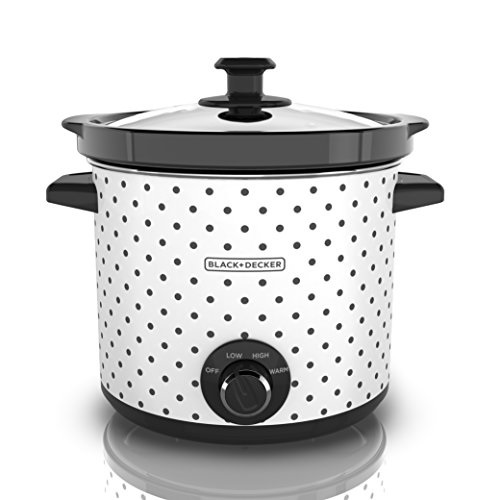 Black & Decker SC1004D Slow Cooker, 4 Quart, Black White by