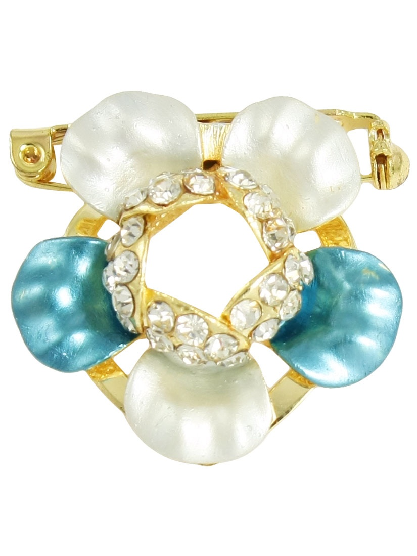 Unique Bargains Unique Bargains Lady Beige Turquoise Blue Flower Plastic Rhinestones Cluster Pin Brooch by Unique-Bargains