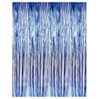 3' x 8' Blue Tinsel Foil Fringe Door Window Curtain Party Decoration