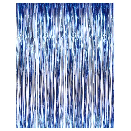 3' x 8' Blue Tinsel Foil Fringe Door Window Curtain Party (Party Door Fringe)