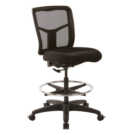 ProGrid Mesh Drafting Chair with Adjustable Footring and Dual Wheel Locking Carpet