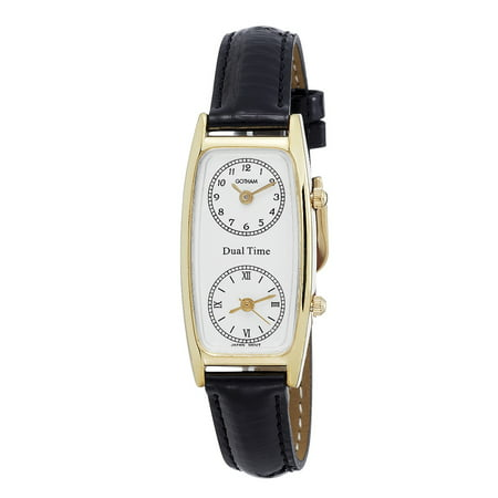 Seiko Dual Time - Women's Gold-Tone Dual Time Zone Leather Strap Quartz Watch