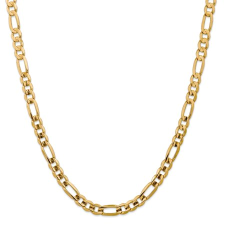 14k Yellow Gold 7.5mm Concave Link Figaro Chain Necklace 22 Inch Pendant Charm Fine Jewelry For Women Gifts For Her - image 9 de 9