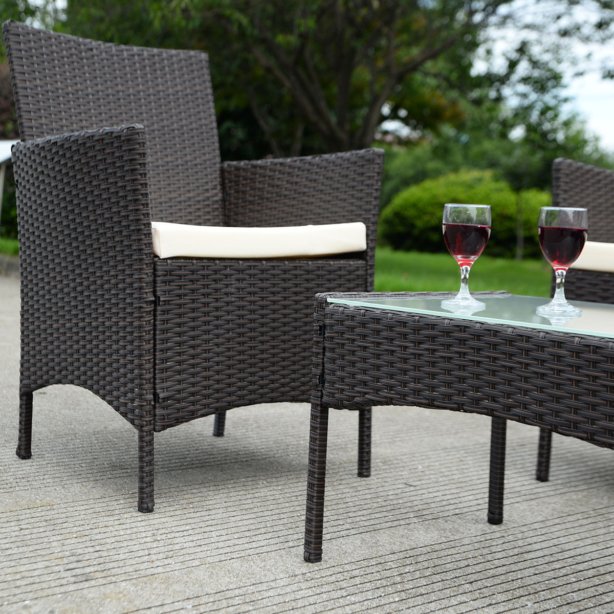 Costway 4 PC Patio Rattan Wicker Chair Sofa Table Set Outdoor