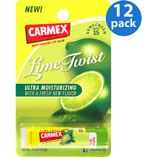 Carmex Lime Twist SPF 15 Moisturizing Lip Balm Stick, 0.15 oz (Pack of 12)