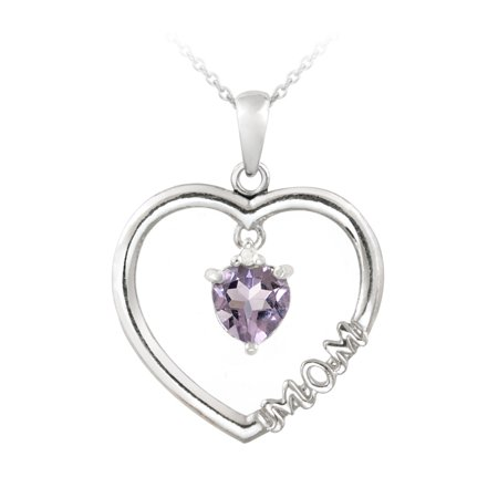 Diamond Open Heart Pendant - Sterling Silver Dangling Amethyst & Diamond Accent
