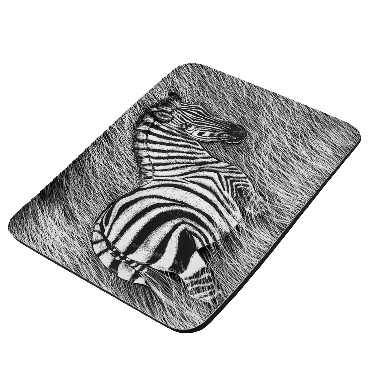 Zebra in Tall Grass Art by Denise Every - KuzmarK Mousepad / Hot Pad / Trivet