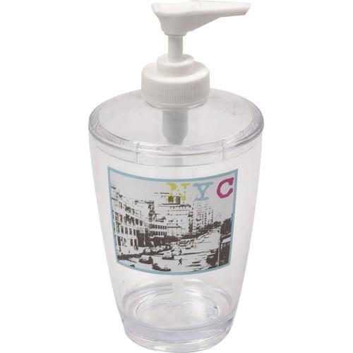 Evideco Urban NYC Clear Acrylic Printed Bathroom Soap Dispenser