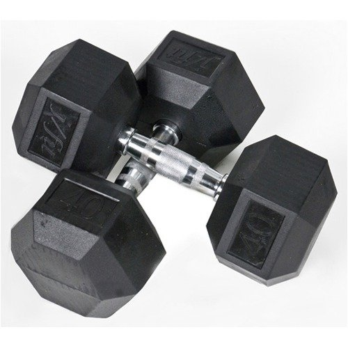 J Fit Pair of 40 lbs Rubber Coated Hex Dumbbells
