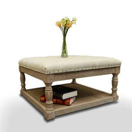 Cairona Fabric 30-inch Tufted Shelved Ottoman, Multiple Colors