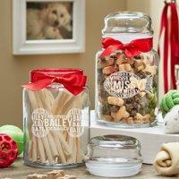 Personalized Christmas Pet Treat Jar - Bone or Fish Design
