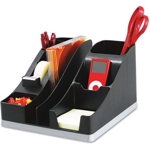 Deflecto All-In-One Caddy, Black and Silver