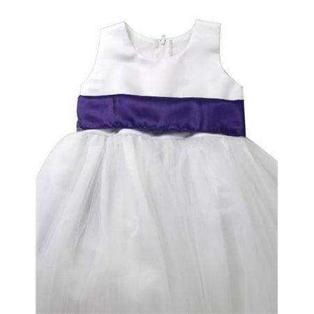 Initronics F861-116 Lapis Purple Regency Flower Girl Dresses Easter Wedding Princess - Size 6, Ivory White