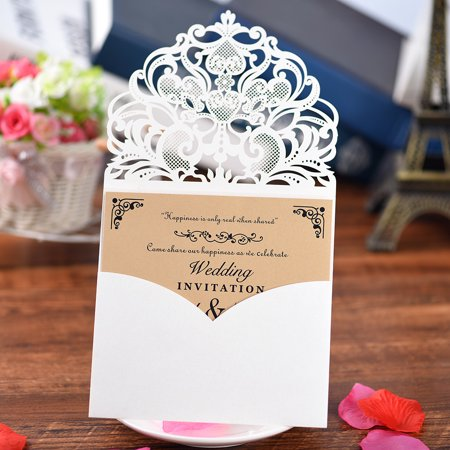 10Pcs Pearl Paper Floral Invitation Cards Holders For Wedding Birthday Party Anniversary