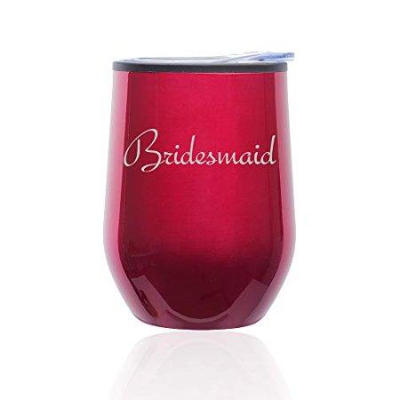 Stemless Wine Tumbler Coffee Travel Mug Glass with Lid Bridesmaid Bachelorette Wedding (Fuchsia) - Bachelorette Tumblers
