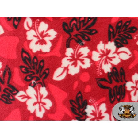 Fleece Printed Fabric HIBISCUS LEAF RED / 58