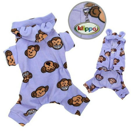 Adorable Silly Monkey Fleece Dog Pajamas & Bodysuit With Hood, Lime - Small - image 1 de 1
