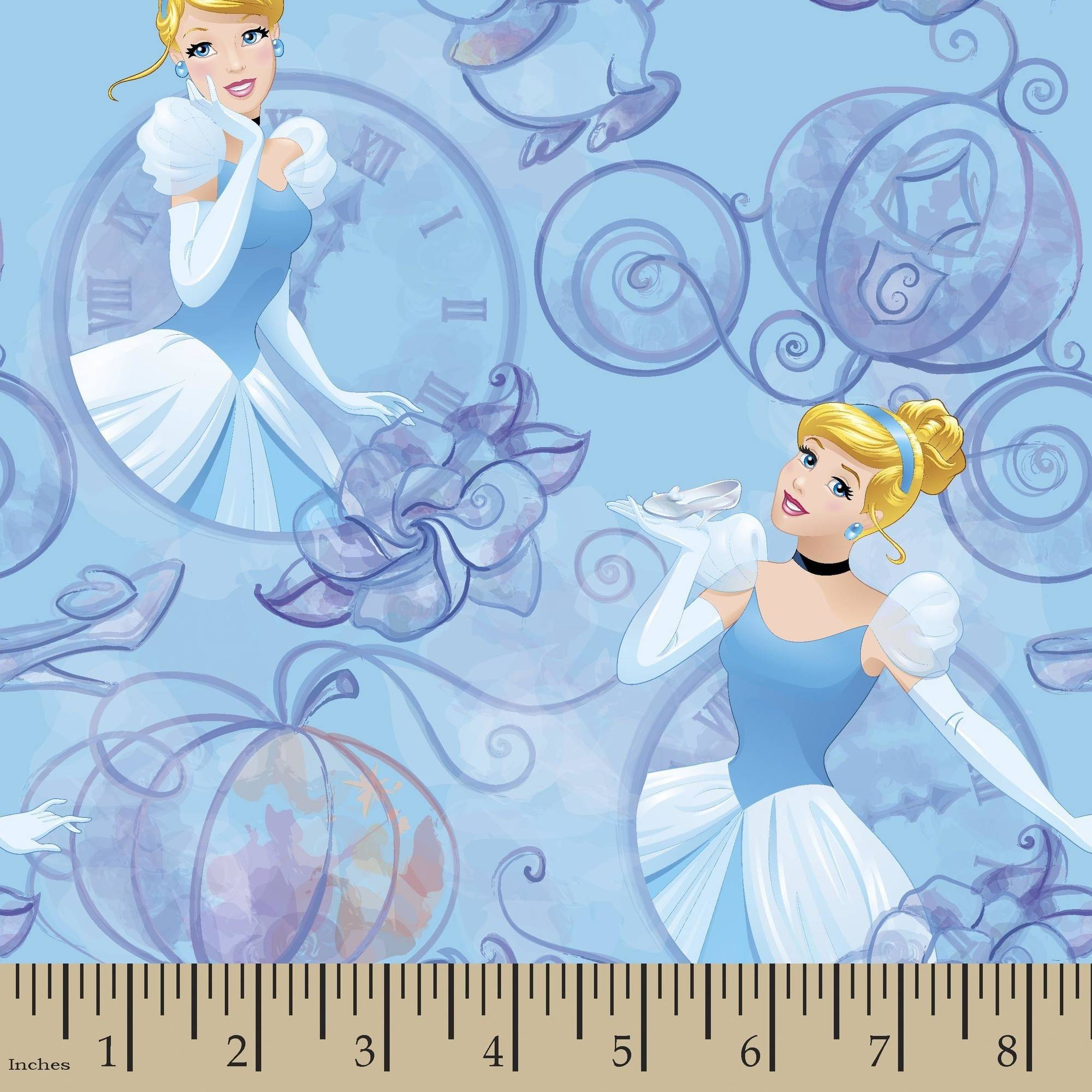 Disney Princess Cinderella Clock and Carriage 43/44 Fabric by the Yard