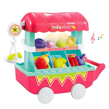 Ice Cream Fruit Trolley Carts Pretend Play Set for Baby Kids with Music Light Best Gift for Boys and Girls - Best Online Shopping Sites For Kids