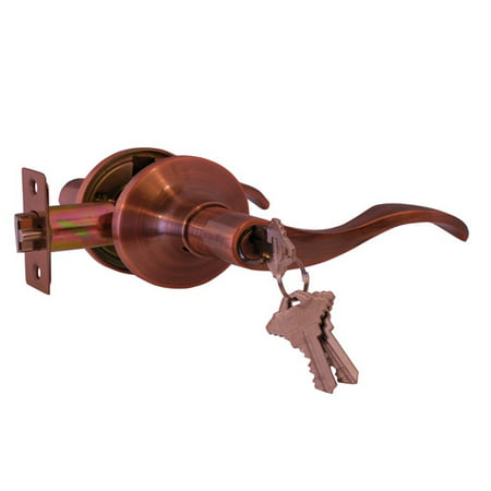 - Constructor PRELUDE Entry Door Lever Handle Lock Set Antique Copper Finish