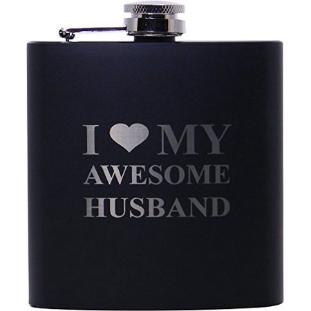 I Love My Awesome Husband 6oz Black Flask - Great Gift for Father's Day, Valentines Day, Anniversary, Birthday, or Christmas Gift for Husband, - Black Monogram Flask