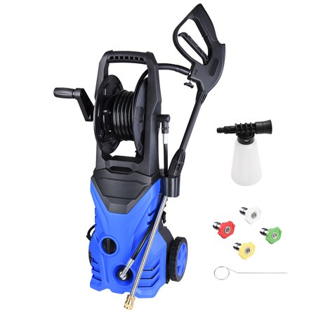 Yescom 2030PSI Electric High Pressure Washer Machine Kit 1.8GPM 1800W with 4 Nozzles Detergent Tank Hose Reel