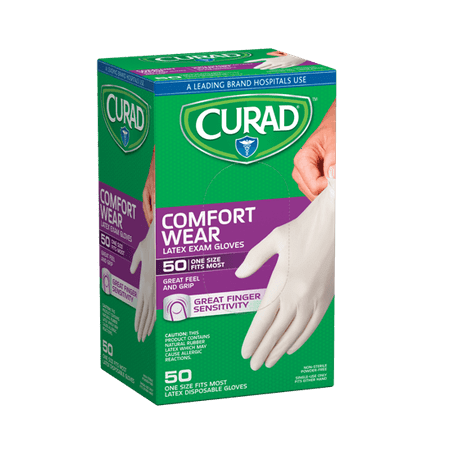 Curad Powder-Free Latex Gloves, 50 (Cardinal Health Multiflex Latex)