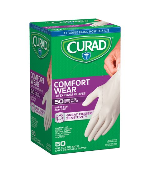 Curad Powder-Free Latex Gloves, 50 Ct