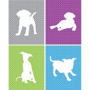 Rocket Bug 4 Piece Playful Puppies Paper Print Set