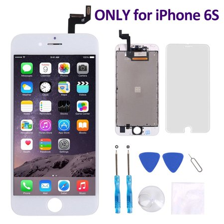 iPhone 6S Screen Replacement (4.7 Inch) White - Corepair LCD Display Screen + Touch Digitizer Assembly with Full Set Repair Tools and Screen Protector (iPhone 6S White) - Full Display Assembly