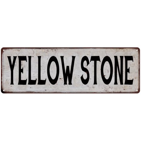 YELLOW STONE Vintage Look Rustic Metal 6x18 Sign City State 106180041342 Vintage Look Side Stone