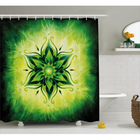 Lotus Shower Curtain Psychedelic Floral Mandala Ethnic Meditation Mystic Sacred Digital Image Fabric Bathroom Set With Hooks Emerald Lime Green