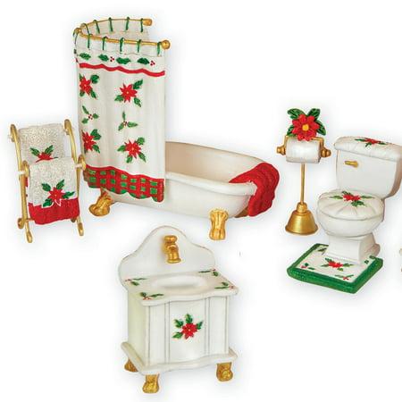 Collection Poinsettia - Poinsettia Chirstmas Mini Bathroom Collectible Set