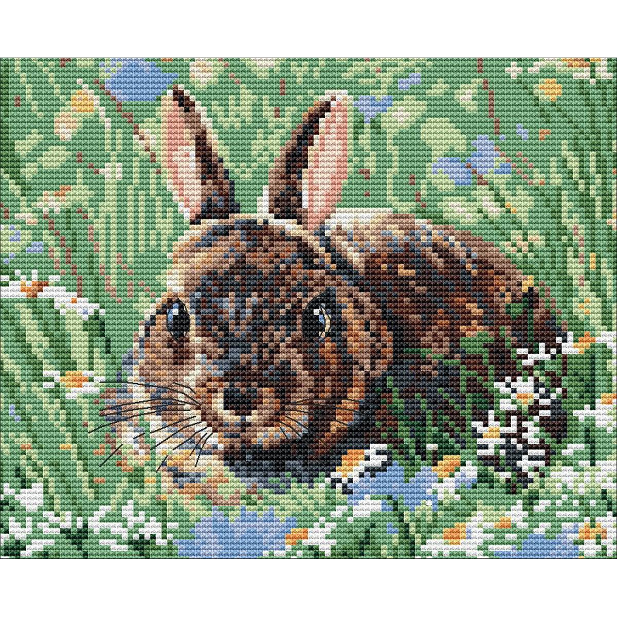 "Pollyanna Pickering Counted Cross Stitch Kit 8""X8""-Woodland Bunny"