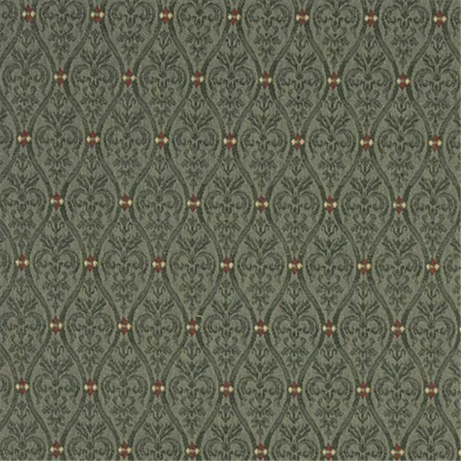 Designer Fabrics A477 54 in. Wide Green, Red And Beige Waves Lines And Foliage Upholstery Fabric