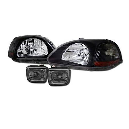 Jdm Blk Head Lights Signal Amber Dy+Fog Lamp W/Switch Smoke Honda Civic Ek