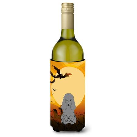 Halloween Poodle Silver Wine Bottle Beverge Insulator Hugger BB4334LITERK (Wine Bottle Halloween Crafts)