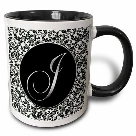 3drose Letter J Black And White Damask Two Tone Black Mug 11